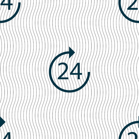 refreshed: TIME 24 Icon sign. Seamless pattern with geometric texture. Vector illustration