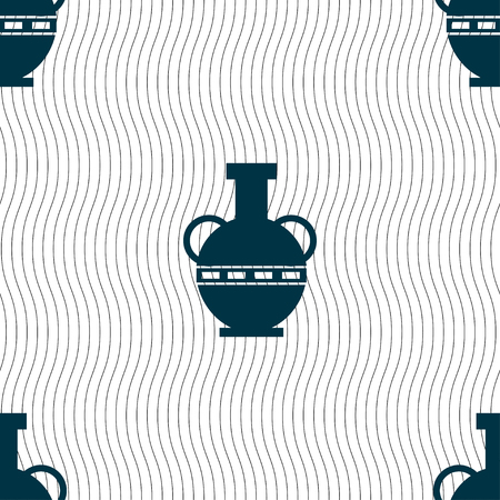 earthenware: Amphora icon sign. Seamless pattern with geometric texture. Vector illustration