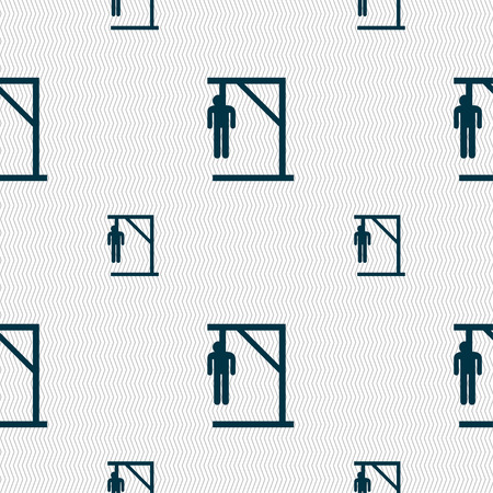punish: Suicide concept icon sign. Seamless pattern with geometric texture. Vector illustration Illustration