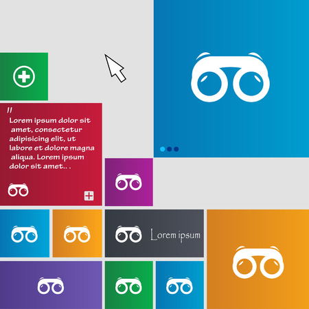 voyeur: binoculars icon sign. buttons. Modern interface website buttons with cursor pointer. Vector illustration