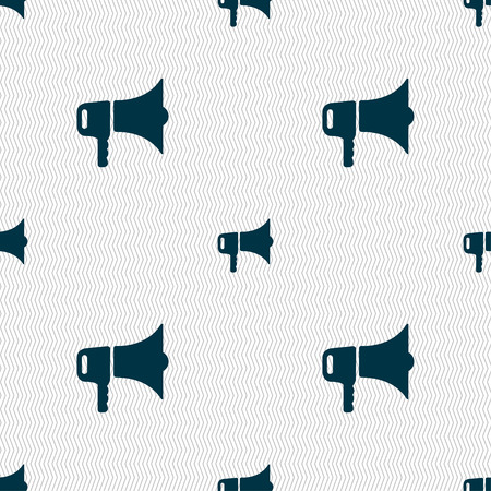 urgent announcement: megaphone icon sign. Seamless pattern with geometric texture. Vector illustration