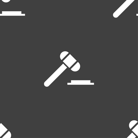 juridical: judge or auction hammer icon sign. Seamless pattern on a gray background. Vector illustration Illustration