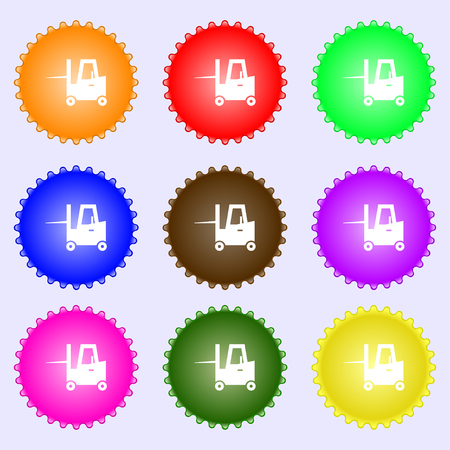 tonnage: Forklift icon sign. Big set of colorful, diverse, high-quality buttons. Vector illustration