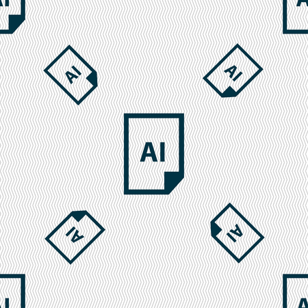 ai: file AI icon sign. Seamless pattern with geometric texture. Vector illustration