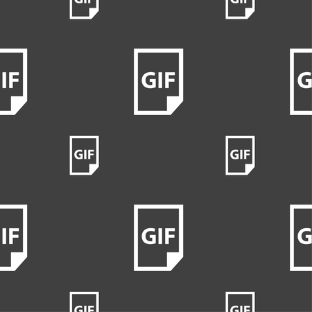gif: File GIF icon sign. Seamless pattern on a gray background. Vector illustration