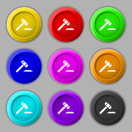 juridical: judge or auction hammer icon sign. symbol on nine round colourful buttons. Vector illustration Illustration