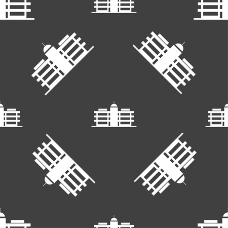 headquarters: Business center icon sign. Seamless pattern on a gray background. Vector illustration