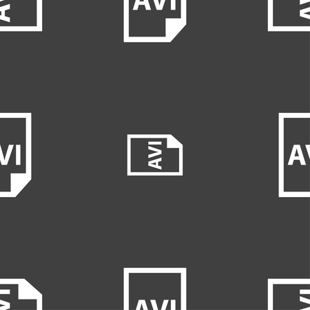 avi: AVI Icon sign. Seamless pattern on a gray background. Vector illustration