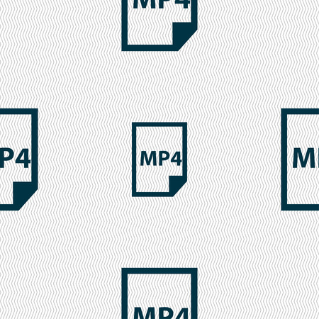 mp4: MP4 Icon sign. Seamless pattern with geometric texture. Vector illustration