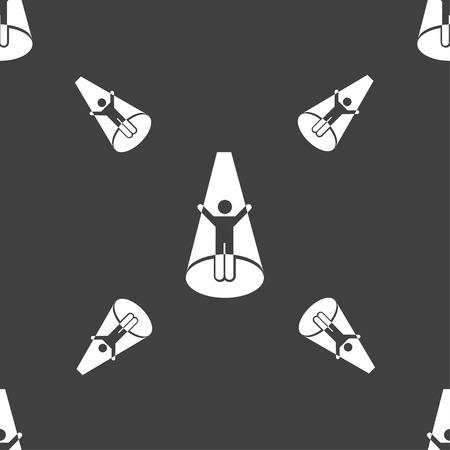 strobe light: Spotlight icon sign. Seamless pattern on a gray background. Vector illustration
