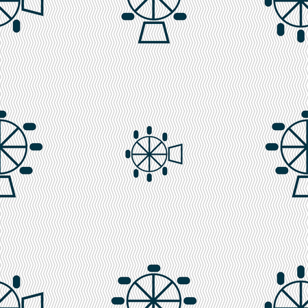 hillock: Ferris wheel icon sign. Seamless pattern with geometric texture. Vector illustration