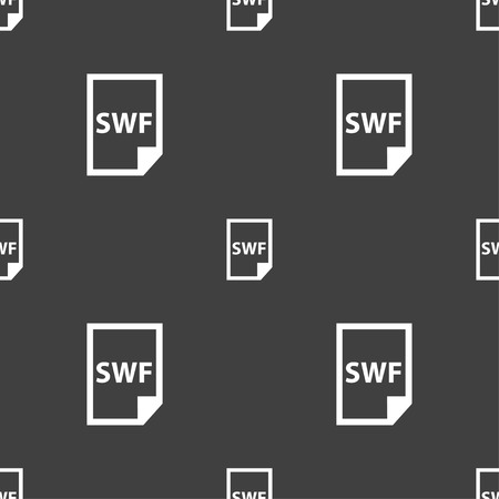 computer animation: SWF File icon sign. Seamless pattern on a gray background. Vector illustration