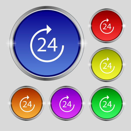 renewal: TIME 24 Icon sign. Round symbol on bright colourful buttons. Vector illustration Illustration