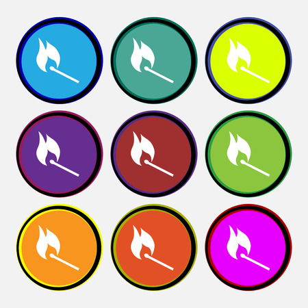 burning match icon sign. Nine multi colored round buttons. Vector illustration Illustration