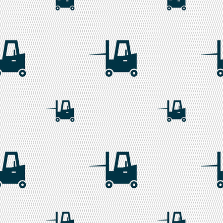 skid steer: Forklift icon sign. Seamless pattern with geometric texture. Vector illustration Illustration