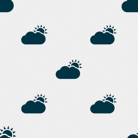 Partly Cloudy icon sign. Seamless pattern with geometric texture. Vector illustration