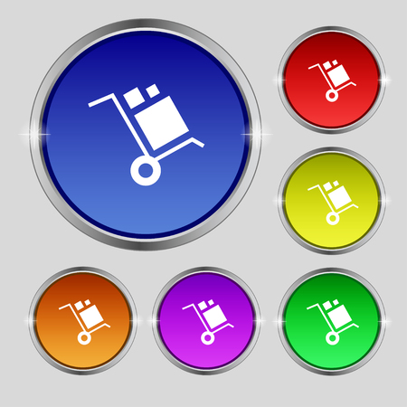 work crate: loader Icon sign. Round symbol on bright colourful buttons. Vector illustration