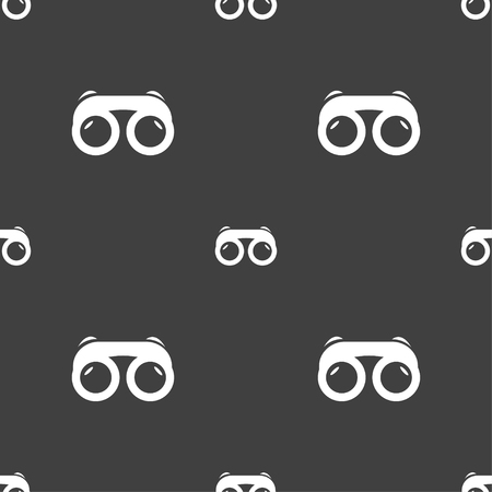 voyeur: binoculars icon sign. Seamless pattern on a gray background. Vector illustration