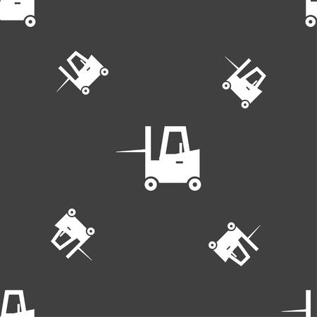 skid steer loader: Forklift icon sign. Seamless pattern on a gray background. Vector illustration Illustration
