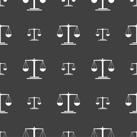 convicted: scales Icon sign. Seamless pattern on a gray background. Vector illustration Illustration