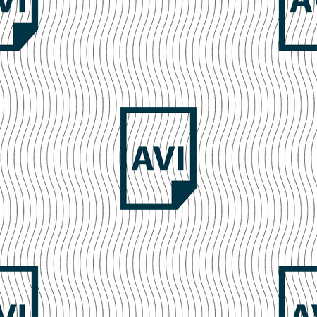 avi: AVI Icon sign. Seamless pattern with geometric texture. Vector illustration