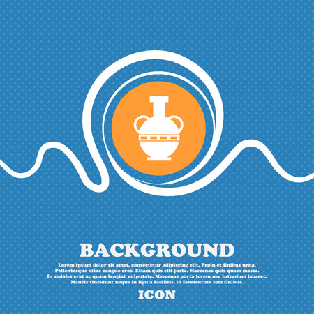 Amphora icon sign. Blue and white abstract background flecked with space for text and your design. Vector illustration Illustration