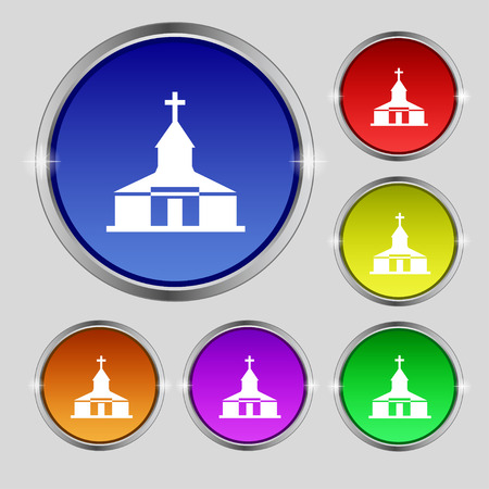 Church Icon sign. Round symbol on bright colourful buttons. Vector illustration Illustration