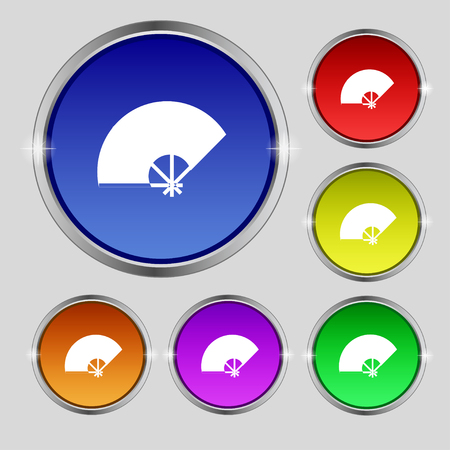 Fan icon sign. Round symbol on bright colourful buttons. Vector illustration
