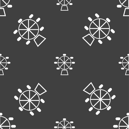hillock: Ferris wheel icon sign. Seamless pattern on a gray background. Vector illustration Illustration