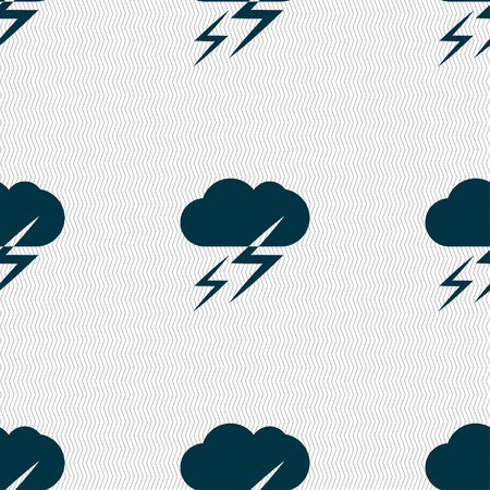 lightening: Weather icon sign. Seamless pattern with geometric texture. Vector illustration