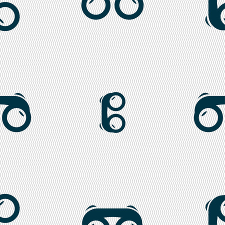 military watch: binoculars icon sign. Seamless pattern with geometric texture. Vector illustration Illustration