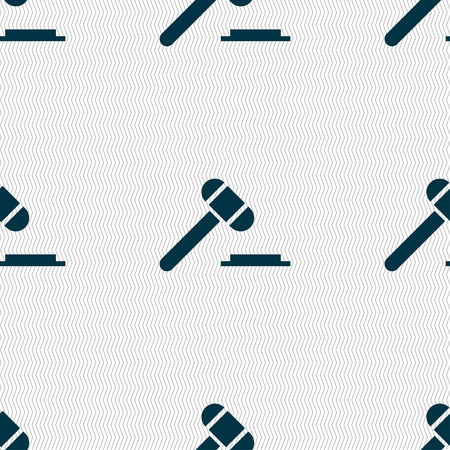 juridical: judge or auction hammer icon sign. Seamless pattern with geometric texture. Vector illustration Illustration