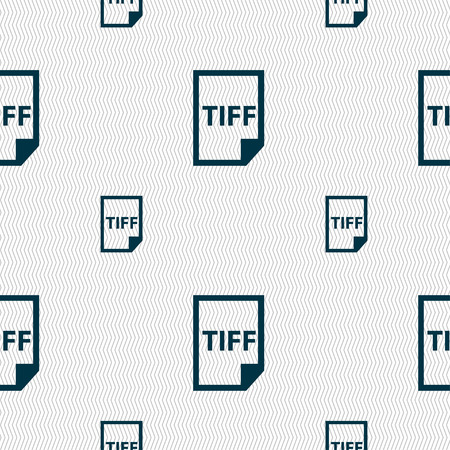 tiff: TIFF Icon. sign. Seamless pattern with geometric texture. Vector illustration