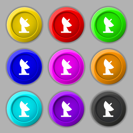 world receiver: satellite dish icon sign. symbol on nine round colourful buttons. Vector illustration
