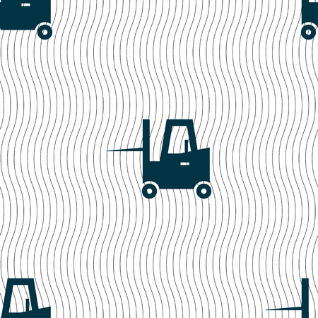 sub: Forklift icon sign. Seamless pattern with geometric texture. Vector illustration Illustration