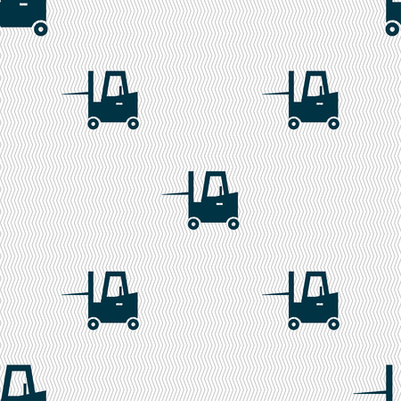 Forklift icon sign. Seamless pattern with geometric texture. Vector illustration Illustration