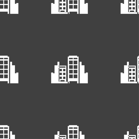 headquarters: Buildings icon sign. Seamless pattern on a gray background. Vector illustration