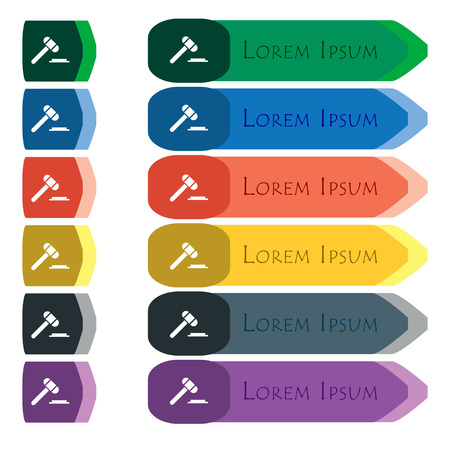 juridical: judge or auction hammer icon sign. Set of colorful, bright long buttons with additional small modules. Flat design. Vector