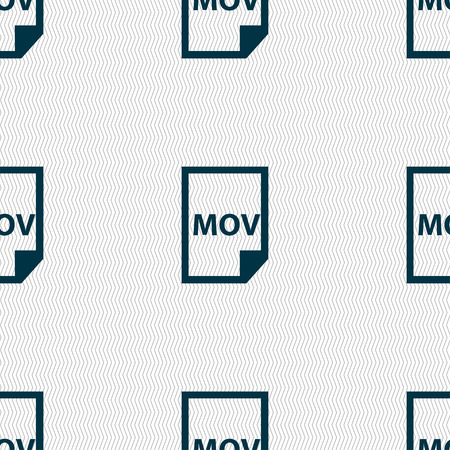 mov: mov file format icon sign. Seamless pattern with geometric texture. Vector illustration Illustration