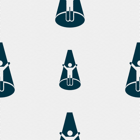 videographer: Spotlight icon sign. Seamless pattern with geometric texture. Vector illustration