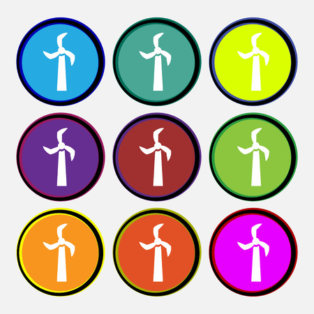 Windmill icon sign. Nine multi colored round buttons. Vector illustration