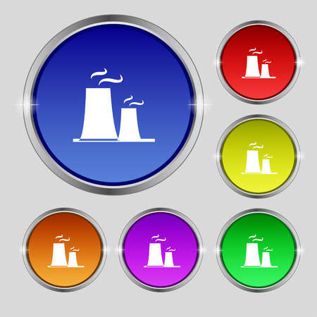 fission: atomic power station icon sign. Round symbol on bright colourful buttons. Vector illustration Illustration