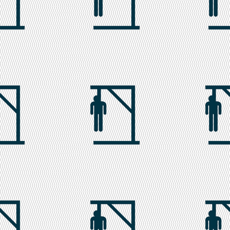 Suicide concept icon sign. Seamless pattern with geometric texture. Vector illustration Illustration