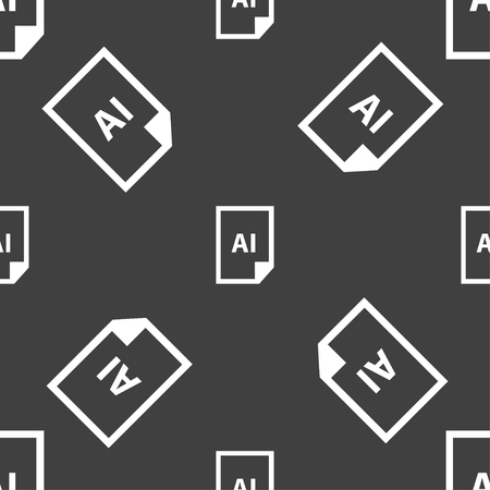 ai: file AI icon sign. Seamless pattern on a gray background. Vector illustration Illustration