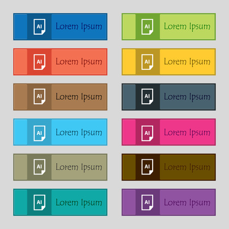 file AI icon sign. Set of twelve rectangular, colorful, beautiful, high-quality buttons for the site. Vector illustration