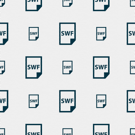 computer animation: SWF File icon sign. Seamless pattern with geometric texture. Vector illustration