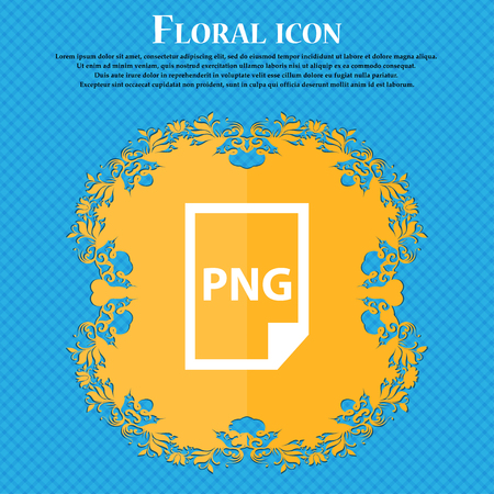 png: PNG Icon icon. Floral flat design on a blue abstract background with place for your text. Vector illustration Illustration