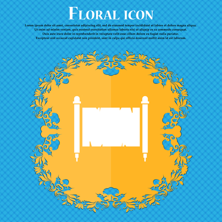 Ancient parchment sheet of paper icon. Floral flat design on a blue abstract background with place for your text. Vector illustration Illustration