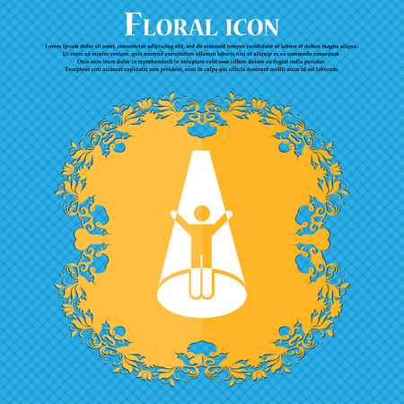 Spotlight icon icon. Floral flat design on a blue abstract background with place for your text. Vector illustration