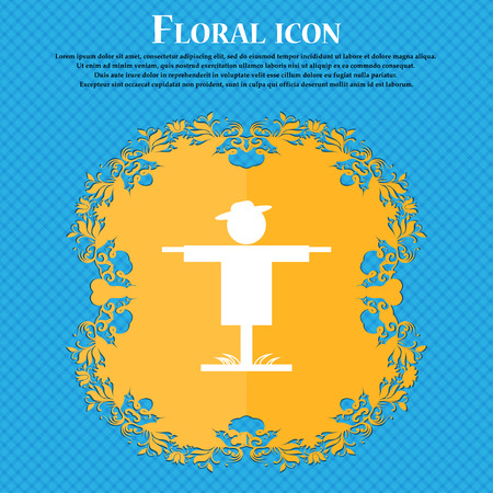 Scarecrow icon icon. Floral flat design on a blue abstract background with place for your text. Vector illustration